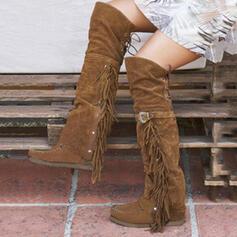 Mulheres Camurça Sem salto Botas Bota no joelho com Fivela Franja sapatos