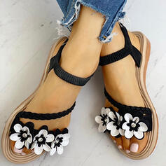 Dla kobiet Zamsz Płaski Obcas Sandały Otwarty Nosek Buta Z Kwiaty obuwie