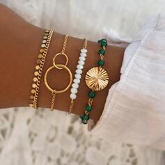 Modisch kühlen Legierung mit Nachahmungen von Perlen Armbänder (Satz 4 Paare)