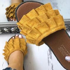 De mujer Ante Tacón plano Sandalias Encaje Pantuflas con Volantes zapatos