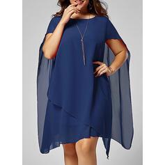 Duży rozmiar Jednolity Krótkie rękawy Suknie shift Długośc do kolan Elegancki Mała czarna Impreza Sukienka