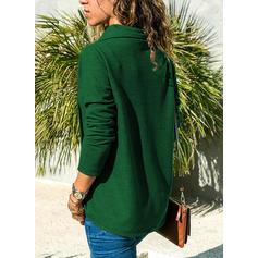 Jednobarevný Stojáček Dlouhé rukávy Neformální Bluze