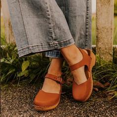 Donna PU Tacco basso Zeppe Punta quadrata con Fibbia scarpe