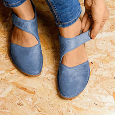 Donna Camoscio Senza tacco Ballerine Punta chiusa con Velcro scarpe