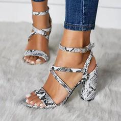 De mujer PU Tacón ancho Sandalias Salón Encaje con Hebilla Estampado de animales zapatos