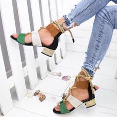 Mulheres Couro Salto robusto Sandálias Bombas Peep toe com Aplicação de renda sapatos