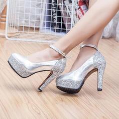 Χοντρό φτέρνα Γοβάκια Πλατφόρμα Κλειστά παπούτσια Με Αφρώδης λάμψη παπούτσια