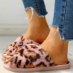 De mujer Tejido Tacón plano Pantuflas con Estampado de animales Piel zapatos