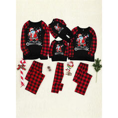 Santa Claus Kostkovaný Písmeno Tisk Rodinné odpovídající Vánoční pyžama