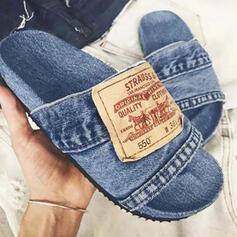 Kvinnor Jeans Flat Heel Sandaler Platta Skor / Fritidsskor Peep Toe Tofflor med Skarvfärg skor