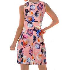 Impresión/Floral Sin mangas Cubierta Hasta la Rodilla Casual/Vacaciones Tanque Vestidos