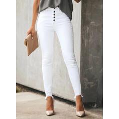 Pevný džínovina Dlouho Neformální Plus velikost Kancelář / Obchod hlubokým výstřihem Knoflík Kalhoty Denim & Džíny
