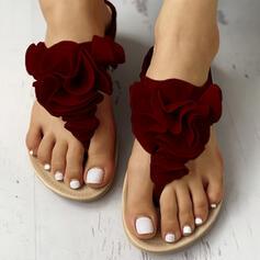 Dla kobiet PU Płaski Obcas Sandały Plaskie Japonki Kapcie Z Kwiaty Elastic Band obuwie