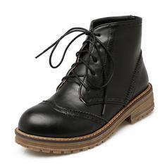 De mujer PU Tacón bajo Botas Botas al tobillo Martin botas con Cordones zapatos