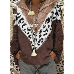 Print Color Block Chunky knit Leopard Hooded Casual Sweaters