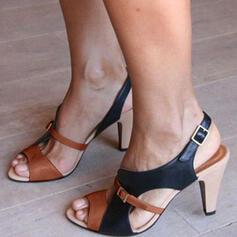 De mujer Cuero Tacón ancho Sandalias Salón Encaje Solo correa con Hebilla zapatos