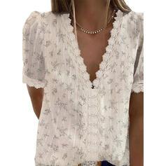Nadruk Kwiatowy Koronka Dekolt w kształcie litery V Krótkie rękawy Casual Elegancki Bluzki