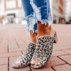 De mujer Ante Tacón ancho Sandalias Encaje Pantuflas con Estampado de animales zapatos