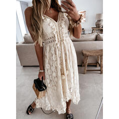 Lace/Solid/Tassel Sleeveless A-line Slip/Skater Casual Maxi Dresses