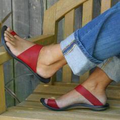 Women's PU Flat Heel Sandals Peep Toe Slippers shoes