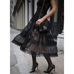 Lace/Solid Short Sleeves A-line Skater Little Black/Party Midi Dresses