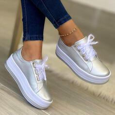 Femmes PU Plateforme Chaussures plates avec Dentelle Couleur unie chaussures