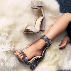 De mujer Cuero Tacón ancho Sandalias Encaje con Lentejuelas Brillo Chispeante Hebilla zapatos