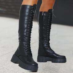 De mujer PU Tacón ancho Plataforma Martin botas con Cordones Color sólido zapatos