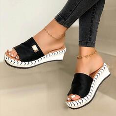 De mujer Ante Tipo de tacón Sandalias Cuñas Encaje Solo correa Pantuflas con Otros zapatos