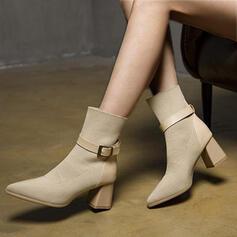 De mujer Tejido volador Tacón ancho Botas Botines chelsea con Hebilla Color sólido zapatos