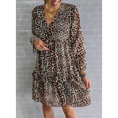 Leopard Dlouhé rukávy Splývavé Nad kolena Neformální/Dovolená Tunika Šaty