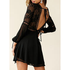 Lace/Solid/Backless Long Sleeves A-line Above Knee Little Black/Sexy/Party Skater Dresses