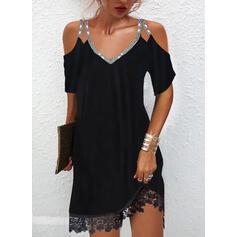 Sólido Encaje/Lentejuelas Mangas 1/2 manga de hombros fríos Vestidos sueltos Sobre la Rodilla Pequeños Negros/Elegante Vestidos