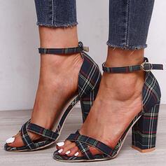 De mujer Tejido Tacón ancho Sandalias con Hebilla zapatos