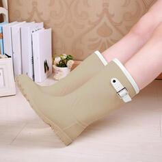 De mujer PVC Tacón bajo Botas Botas a la rodilla Botas de lluvia con Rivet Hebilla zapatos