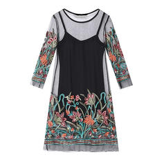 Embroidery/Floral 3/4 Sleeves Shift Above Knee Casual Tunic Dresses