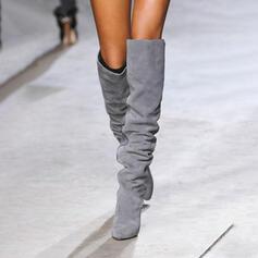 Donna Camoscio Tacco spesso Stivali sopra il ginocchio Punta a punta Stivali invernali con Colore solido scarpe