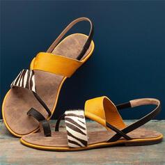 Kvinder Kunstlæder Flad Hæl sandaler Kigge Tå med Delt Bindeled sko
