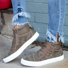 Femmes Treillis Talon plat Chaussures plates avec Dentelle Couleur unie chaussures