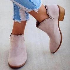 De mujer PU Tacón bajo Botas al tobillo Top bajo con Color sólido zapatos