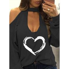 Stampa Cuore Spalle esposte Maniche lunghe Casuale Sexy Camicie