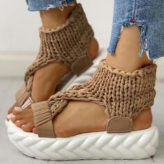 De mujer Tejido Tacón plano Sandalias Encaje zapatos