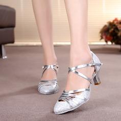 Mulheres Salão de Baile Saltos Bombas Espumante Glitter com Correia de Calcanhar Moderno