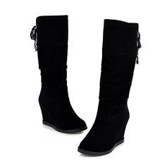 Women's Suede Wedge Heel Mid-Calf Boots shoes