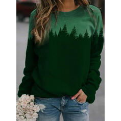 Color Block Forest Print Round Neck Long Sleeves T-shirts