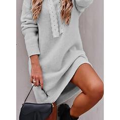 Düz / Tek (Renk) S kapucí Neformální Dlouhé Svetrové šaty