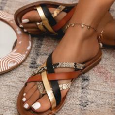 Kvinder PU Flad Hæl sandaler Fladsko Flip Floppere med Animalske Udskriv Udhul Splejsefarve sko