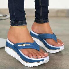 Kvinder PU Kile Hæl sandaler Platform Kiler Flip Floppere Tøfler med colorblock sko