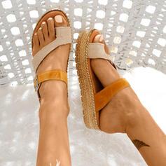 De mujer Cuero Tacón plano Sandalias con Material Block zapatos