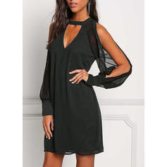 Solid Cold Shoulder Sleeve Shift Above Knee Little Black/Casual/Party Dresses